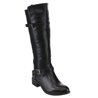 Via Pinky Women's EF75 Knee High Elastic Panel Buckle Strap Chunky Riding Boots