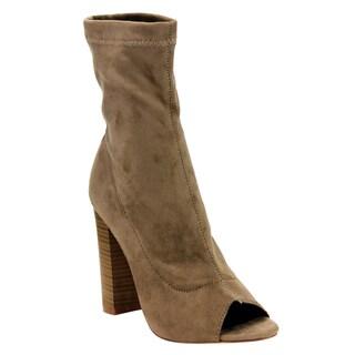 Liliana Women's EF34 Suede Stacked Block High Heel Side-zipper Mid-calf Boots