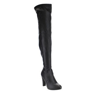 Forever IC33 Women's Faux Leather Drawstring Wrapped-heel Over-the-knee Boots