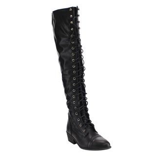Beston DE11 Women's Lace Up Block Heel Side Zip Over The Knee High Combat Boots