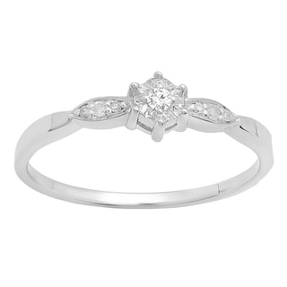 Sterling Silver Diamond Accent Solitaire Bridal Promise Ring (I-J, I2-I3)