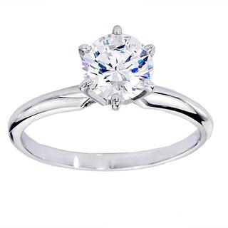 14k White Gold 1 1/10ct TDW Round White Diamond Bridal Solitaire Ring (G-H, I1-I2)