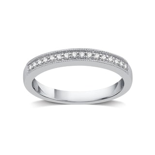 Silver Platinum Alloy 1/8ct TDW White Diamond Wedding Band - White I-J