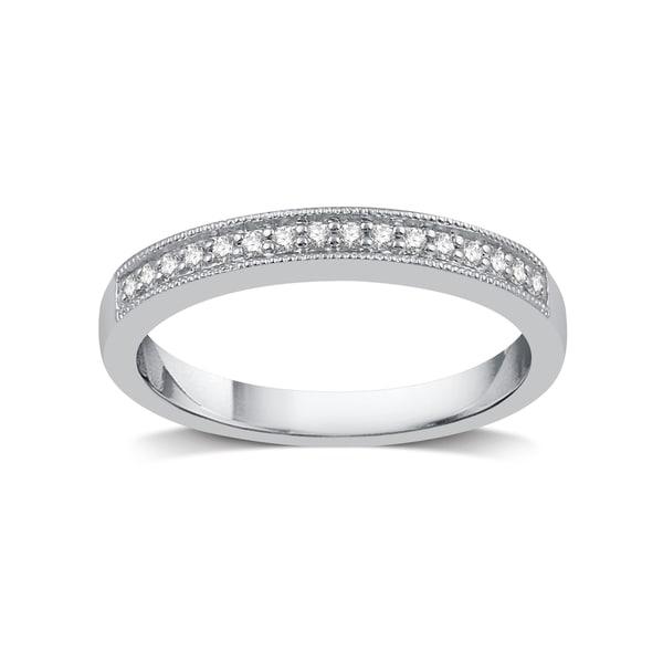 Silver Platinum Alloy 1/8ct TDW White Diamond Wedding Band - White I-J