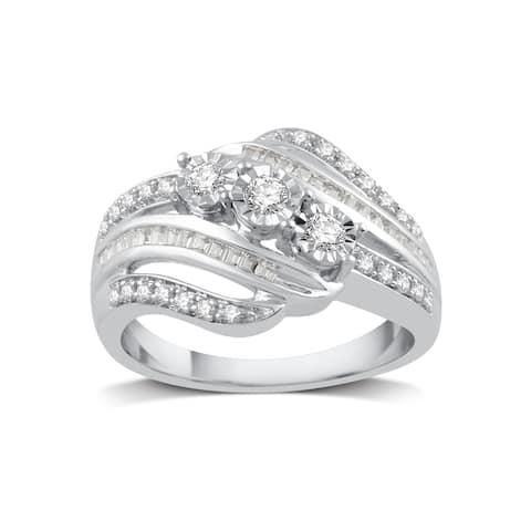 Sterling Silver 1/4ct TDW White Diamond Three Stone Ring - White I-J