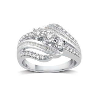 sterling silver 14ct tdw white diamond three stone ring - Affordable Diamond Wedding Rings