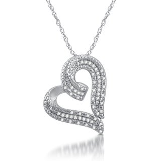 Sterling Silver 1/2ct TDW White Diamond Heart Shaped Pendant