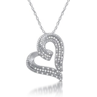 Sterling Silver 1/2ct TDW White Diamond Heart Shaped Pendant - White I-J