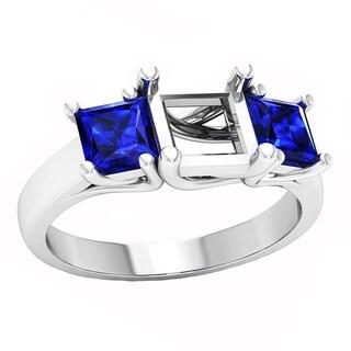 14k Gold 1 1/4ct TW Princess-cut Blue Sapphire Semi Mount Bridal Ring
