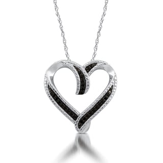 Sterling Silver 1/4ct TDW Black Diamond Heart Pendant