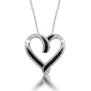 Sterling Silver 1/4ct TDW Black Diamond Heart Pendant