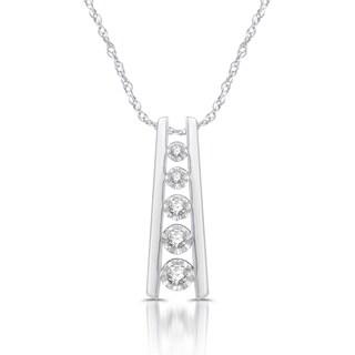 Sterling Silver 1/6ct TDW White Diamond Ladder Five-stone Pendant
