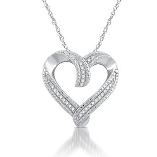 Sterling Silver 1/4ct TDW White Diamond Heart Pendant (I-J, I2-I3)