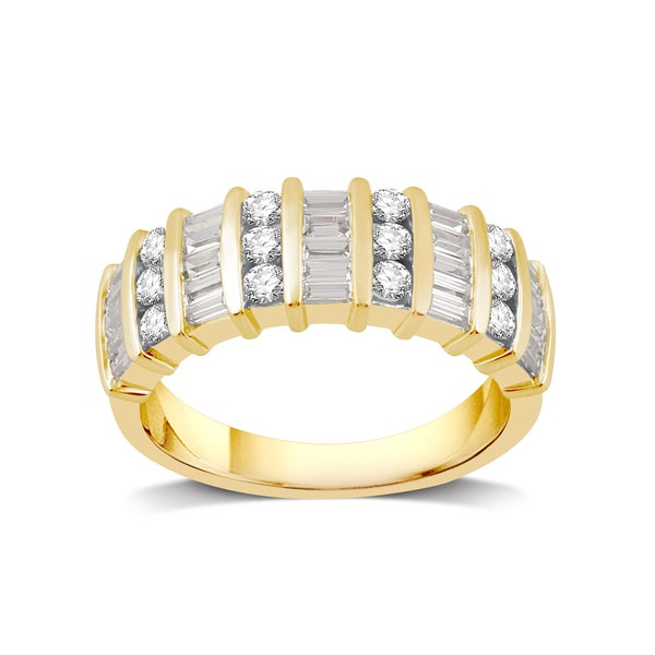 10k Yellow Gold 1ct TDW White Diamond Band - White I-J