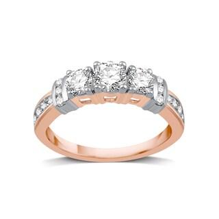 14k Two-tone Gold 1ct TDW White Diamond Three Stone Bridal Engagement Ring (I-J, I2-I3)