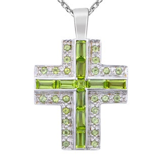 Orchid Jewelry 925 Sterling Silver 7 1/10 Carat Peridot Cross Necklace