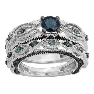 10k Gold 1 1/5ct TDW Round-cut Blue Diamond Bridal Vintage Style Set (I2-I3)