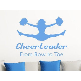 Quote Cheerleader From Bow To Toe Phrase Home Decor Nursery Bedroom Art Design Sticker Decal size 48