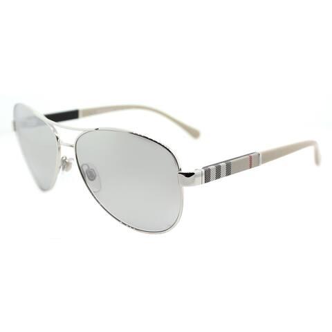 8c2cab43a7f8 Burberry BE 3080 10056V Silver Metal Aviator Sunglasses Silver Mirror Lens
