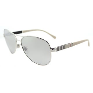Burberry BE 3080 10056V Silver Metal Aviator Sunglasses Silver Mirror Lens