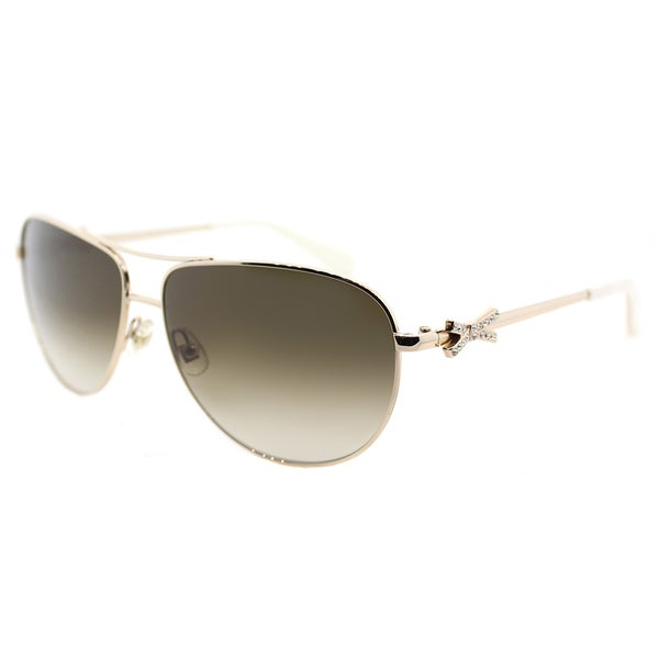 30dc36a4e8242 Kate Spade KS Circe2 P 3YG Light Gold Metal Aviator Sunglasses With Brown  Gradient Lens