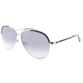Kate Spade Women's KS Amarissa 84J Palladium Black Metal Silver Mirror Lens Aviator Sunglasses