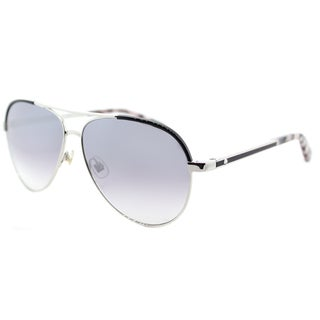 Kate Spade Women's KS Amarissa 84J Palladium Black Metal Silver Mirror Lens Aviator Sunglasses