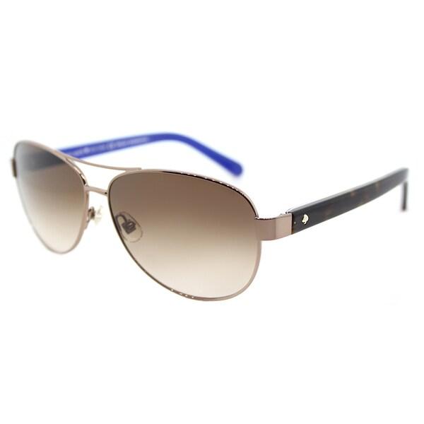 13581ca1e1525 Kate Spade KS Dalia2 P40 Brown Metal Gradient-lens Aviator Sunglasses