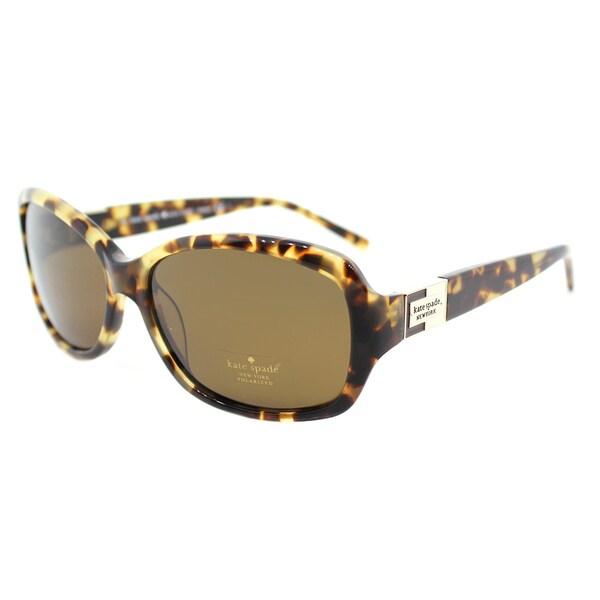18e216b61c677 Kate Spade KS Annika P ESPP Caramel Tortoise Polarized Rectangle Sunglasses