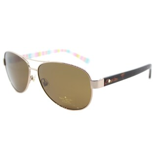 Kate Spade KS Dalia2/P RNF Red Gold Metal Framed Brown Polarized Lens Aviator Sunglasses