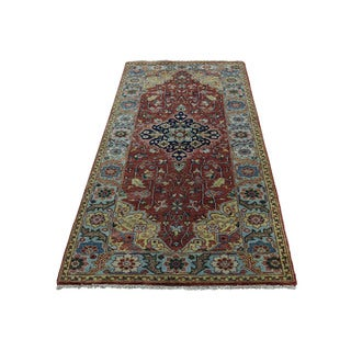 Antiqued Heriz Recreation Hand-knotted Pure Wool Runner Rug (2'7 x 6')