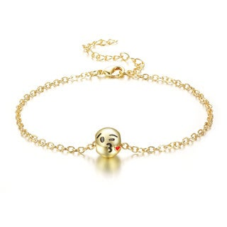 Blow A Kiss Emoji Anklet, 9 Inches