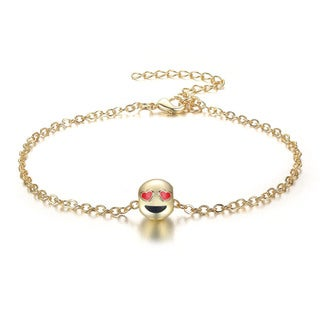 Smiling Face Eye Love You Emoji Anklet, 9 Inches