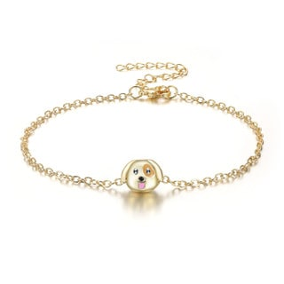 Puppy Love Emoji Anklet, 9 Inches