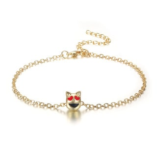 Purrfect Smiling Cat With Heart Eyes Emoji Anklet, 9 Inches