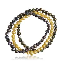 5MM Freshwater Cultured Golden South and Peacock Pearl Bracelet Set - Multi