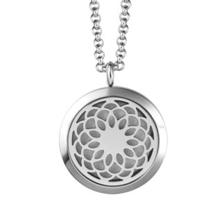Hypoallergenic Flower Aromatherapy Essential Oils Diffuser Necklace, Pure Stainless Steel Craftsmanship
