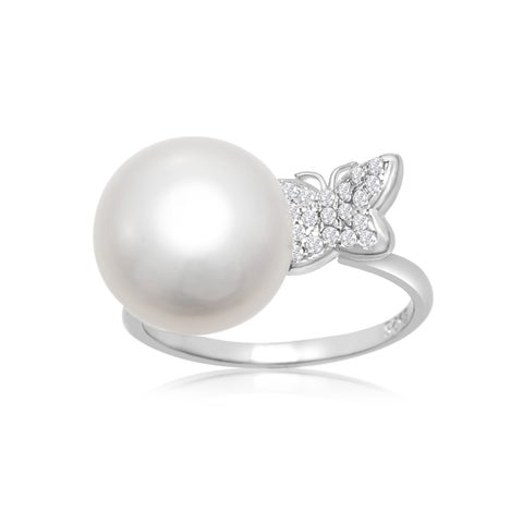 12MM Freshwater Cultured Single Pearl and Embellished Butterfly Ring