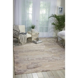 Nourison Divine Ash Grey Wool Geometric Area Rug (8'6 x 11'6)