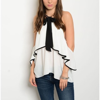 JED Women's Ivory and Black Cold-shoulder Bow Front Halter Top