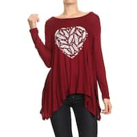 JED Women's Long Sleeve Printed Burgundy Soft Rayon Tunic Top