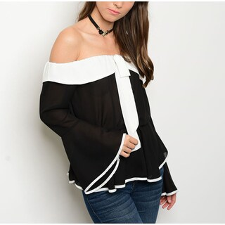 JED Women's Black and Ivory Colorblock Bell-sleeve Off-shoulder Top (4 options available)
