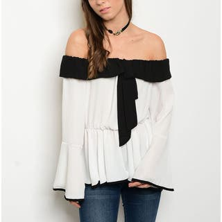 JED Women's Black and Ivory Colorblock Bell-sleeve Off-shoulder Top|https://ak1.ostkcdn.com/images/products/14061461/P20674814.jpg?impolicy=medium
