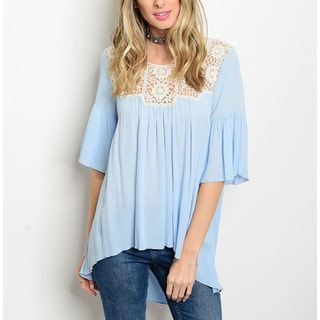 JED Women's Soft Rayon Baby Blue Peasant Blouse With Crochet Detailed Neckline