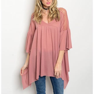 JED Women's Relax Fit Trapeze Hem Tunic with Crochet Detailed Bell Sleeves