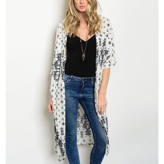 JED Women's Rayon Long Length Printed Kimono Cardigan