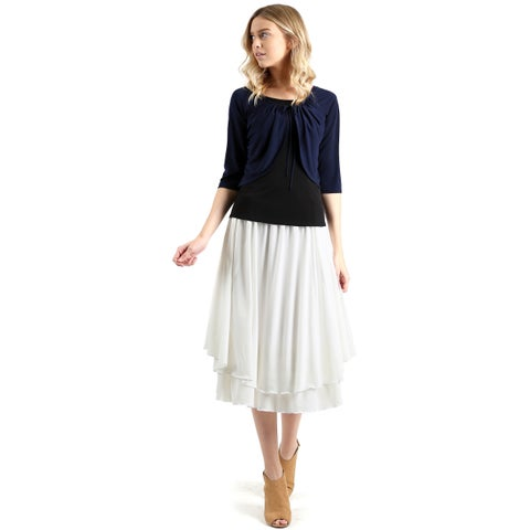 Evanese Women's Raglan 3/4-Sleeve Faux Shrug w/ Front-Pull Strings