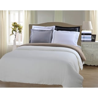 Superior Wrinkle Resistant Solid Regal Embroidery 3-piece Duvet Cover Set (As Is Item)