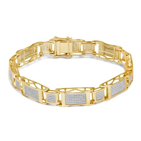 Unending Love 10k Gold Men's 1 5/8ct TDW Diamond Bracelet (I-J, I2-I3)