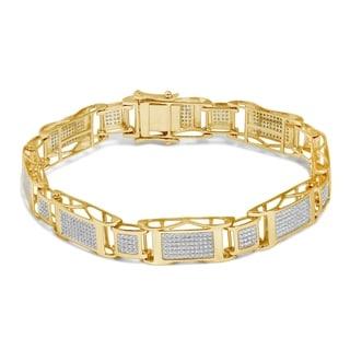 Unending Love 10k White Gold Men's 1 5/8ct TDW Diamond Bracelet (I-J, I2-I3)
